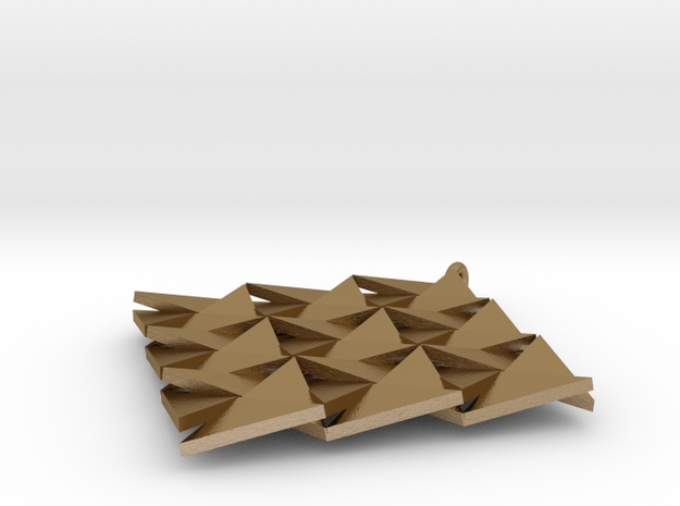Reflecting triangles 2 in Polished Gold Steel