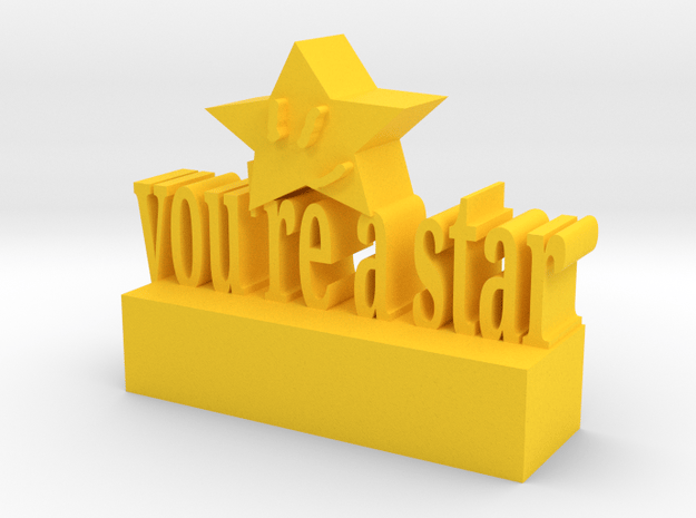 Star Statue in Yellow Processed Versatile Plastic