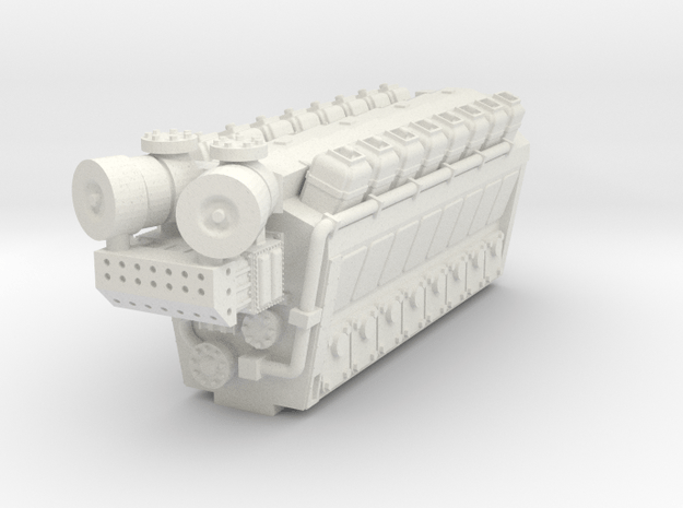 Industrial Engine 16cyl 8200HP in White Natural Versatile Plastic: 1:160 - N