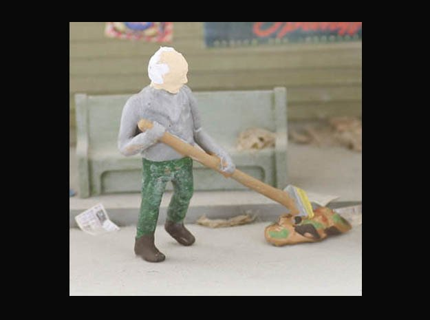 Sweeping Trash HO scale Figure in Smooth Fine Detail Plastic