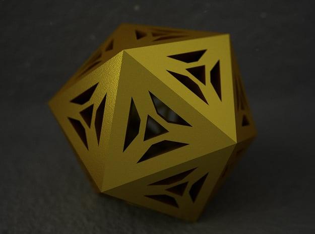 Decorative Icosahedron in Polished Gold Steel
