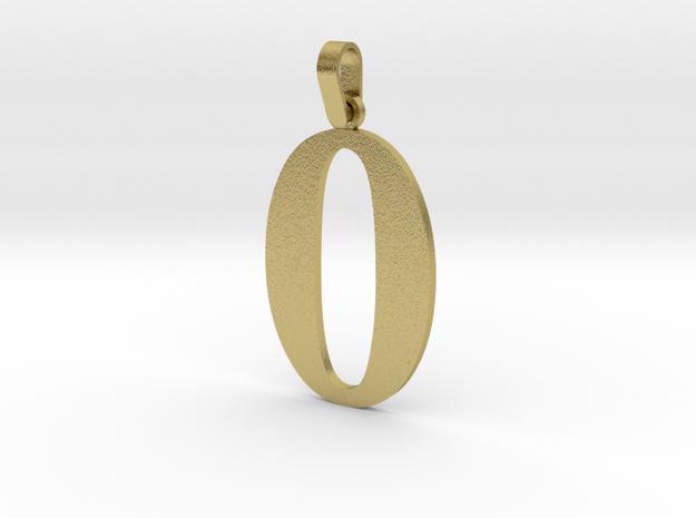 0 Number Pendant in Natural Brass (Interlocking Parts)