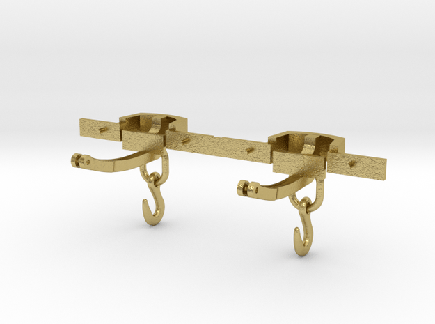 CPL06 FR Close Wagon Couplings (SM32) in Natural Brass (Interlocking Parts)
