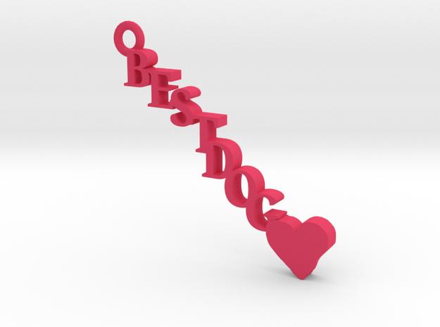 Best Dog Keychain in Pink Processed Versatile Plastic