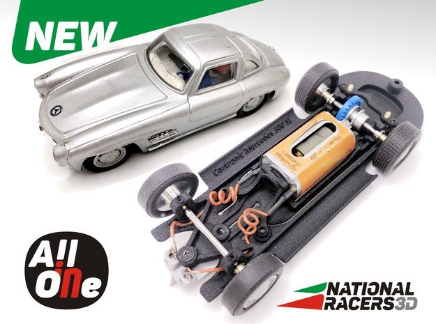 3D Chassis - Cartronic Mercedes 300SL (Inline-AiO) in Black Natural Versatile Plastic