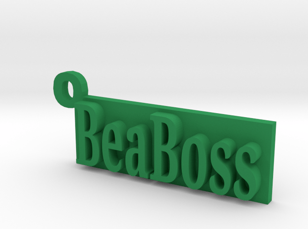 Be a Boss Keychain in Green Processed Versatile Plastic