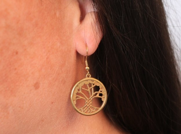 Tree Of Life Earrings in Natural Brass