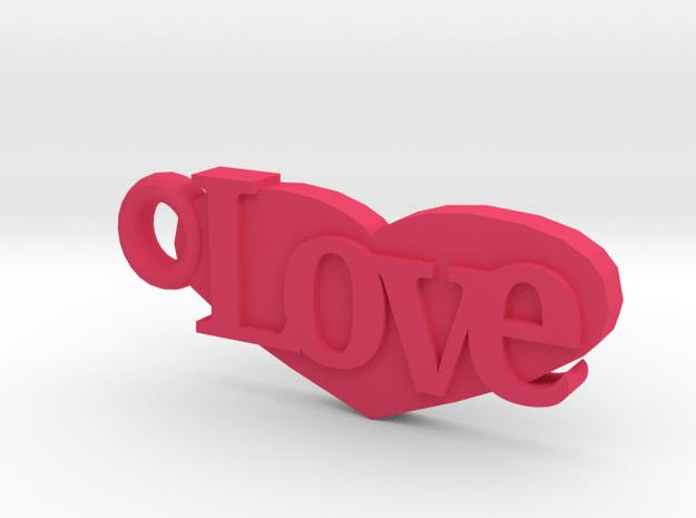 Love Keychain in Pink Processed Versatile Plastic