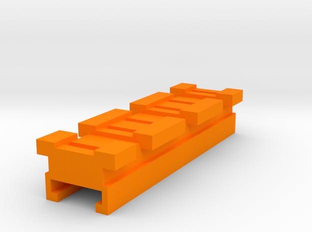MicroShots Rail to Nerf Rail Adapter (3 Slots) in Orange Processed Versatile Plastic