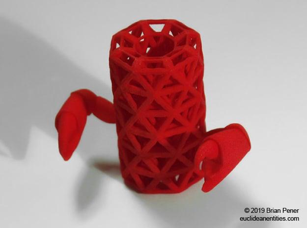 Tube-Crab in Red Processed Versatile Plastic