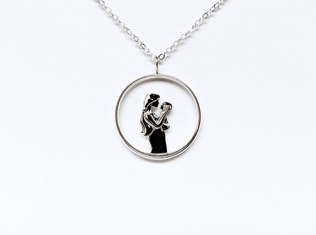 Mother & Infant Pendant -Motherhood Collection in Polished Silver