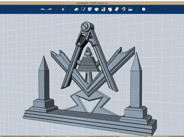 Masonic Display Piece Medium in Polished Bronzed Silver Steel