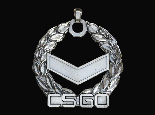 CS:GO - Silver 1 Pendant in Polished Silver
