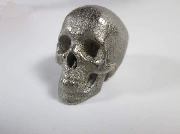 Skull Desk Ornament (1:20 scale) in Polished Nickel Steel: 1:20