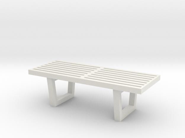 "1:48 48"" Nelson Bench in White Natural Versatile Plastic"