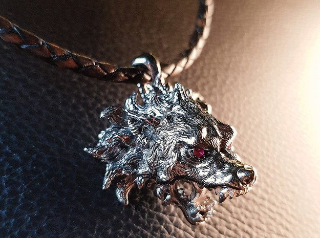 Savage Wolf  Pendant in Antique Silver