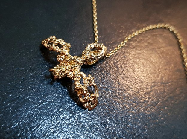 Dancing Bee Pendant in Polished Brass (Interlocking Parts)