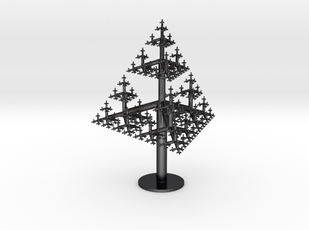 Tetrahedral Tree in Polished and Bronzed Black Steel
