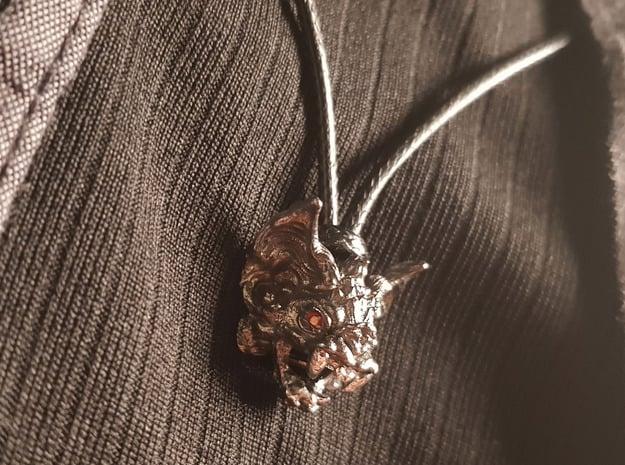 Vampire Bat Sterling Silver Pendant in Polished Bronzed-Silver Steel