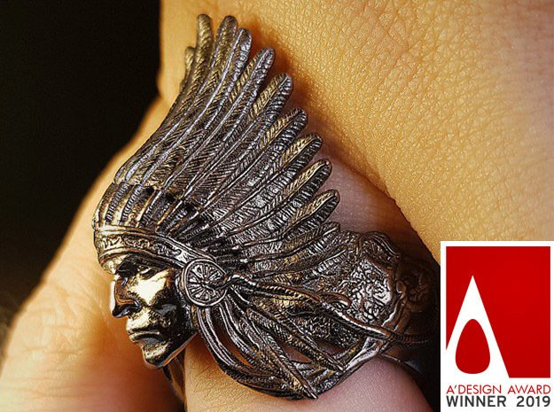 AWARD WINNING DESIGN- Native American Indian Chief in Antique Silver: 10 / 61.5
