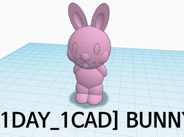 [1DAY_1CAD] BUNNY in Pink Processed Versatile Plastic