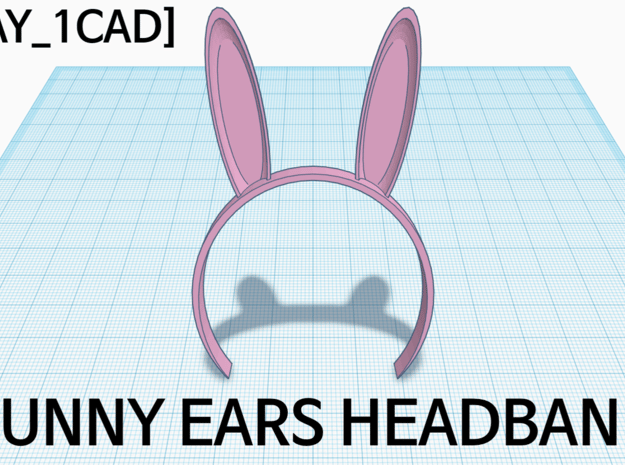 [1DAY_1CAD] BUNNY EARS HEADBAND in Pink Processed Versatile Plastic