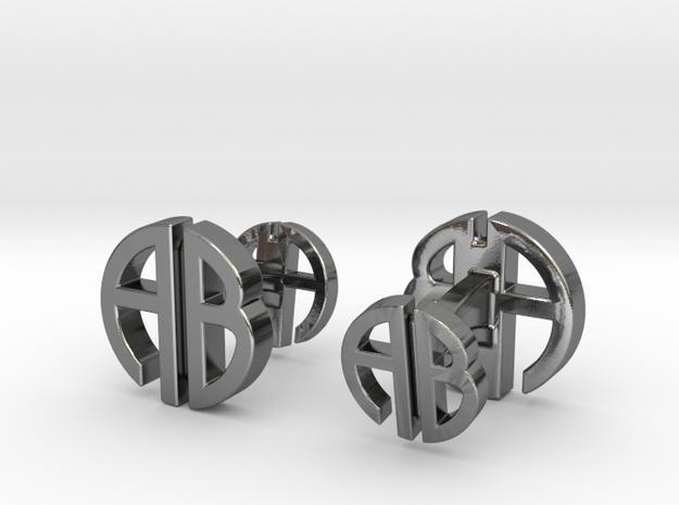 AB Cufflinks in Polished Silver