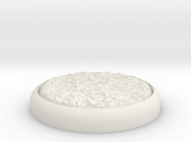 "Grassy 1"" Circular Miniature Base Plate in White Natural Versatile Plastic"