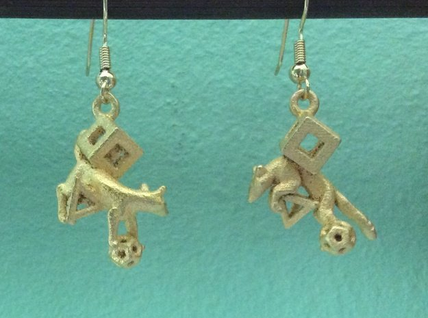Fox in polygons Earrings set in Polished Gold Steel