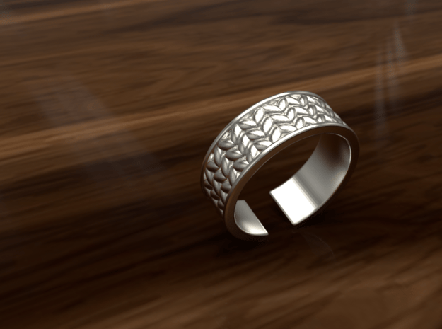 Knitted open ring in Polished Silver