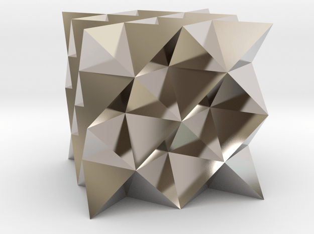 64 sided tetrahedron grid in Rhodium Plated Brass