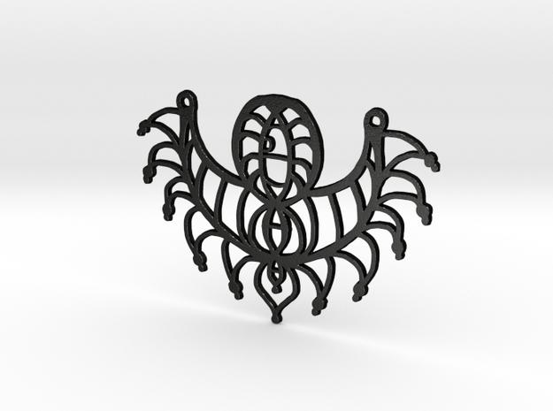 :Twisted Elements: Pendant in Matte Black Steel
