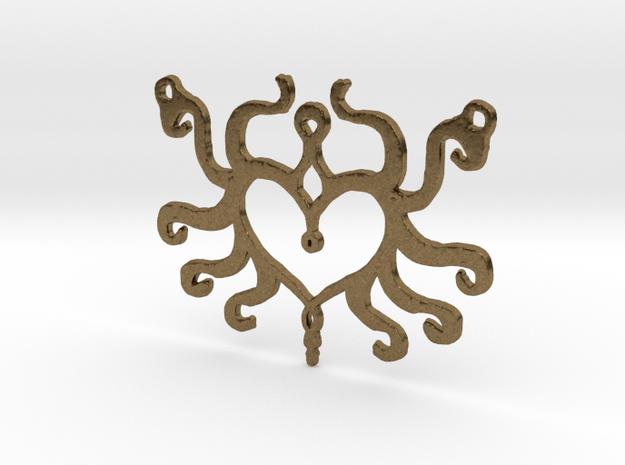 :Heart Tentacle: Pendant in Natural Bronze