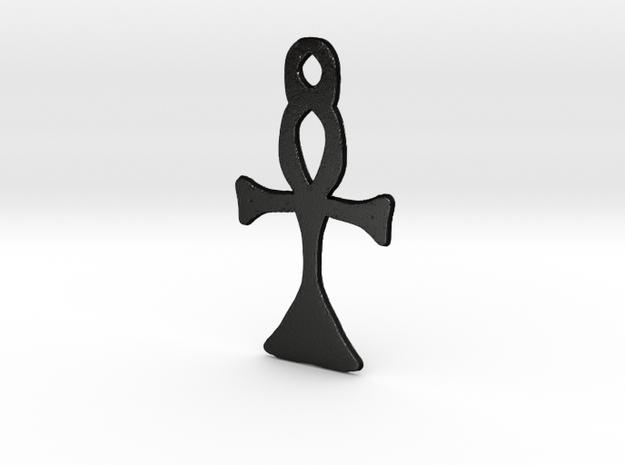:Simple Ankh: Pendant in Matte Black Steel