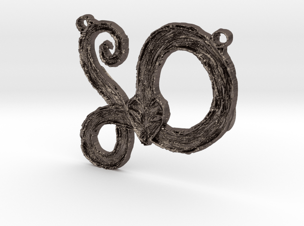 :Serpent Coil: Pendant in Polished Bronzed Silver Steel