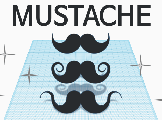 [1DAY_1CAD] MUSTACHE_type1 in Black Natural Versatile Plastic
