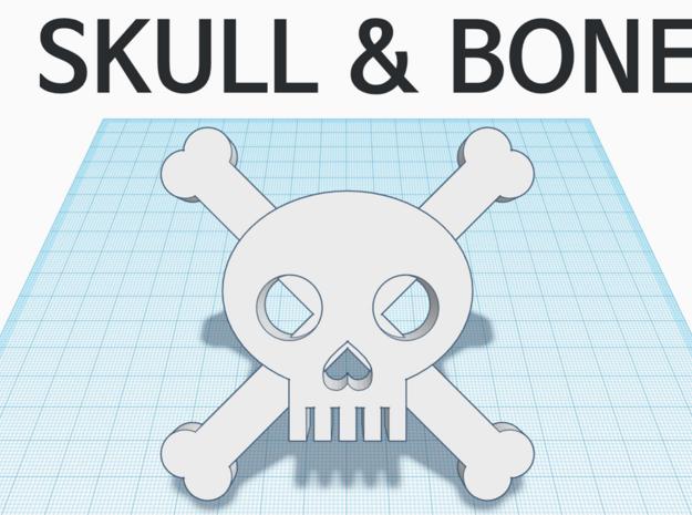 [1DAY_1CAD] SKULL & BONES in White Processed Versatile Plastic