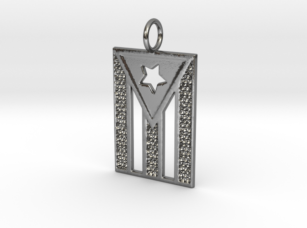 Puerto Rican flag in Polished Silver