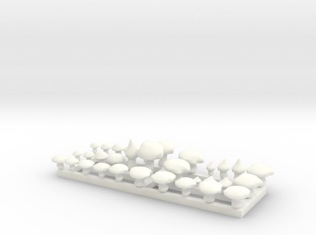 Mushrooms miniature in White Processed Versatile Plastic