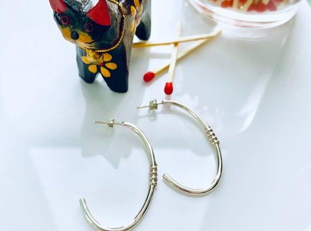 Ellipse Earrings in Polished Silver