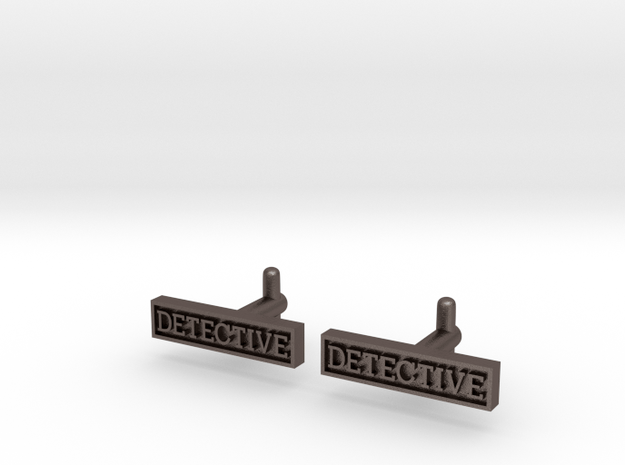 Detective Cufflinks (Style 2) REVISED in Polished Bronzed Silver Steel