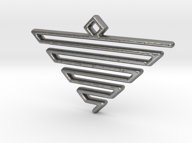 Pyramid Pendant in Natural Silver