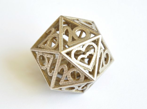 All 20s D20 - Custom Piece in Polished Bronzed Silver Steel