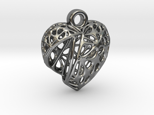 Voronoi Heart Pendant (001) in Fine Detail Polished Silver