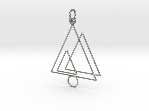 Triple triangle keychain in Natural Silver