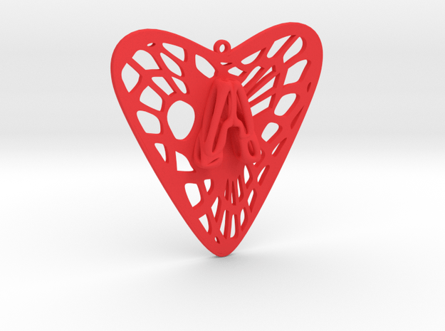Voronoi Heart+A Earring (001) in Red Processed Versatile Plastic