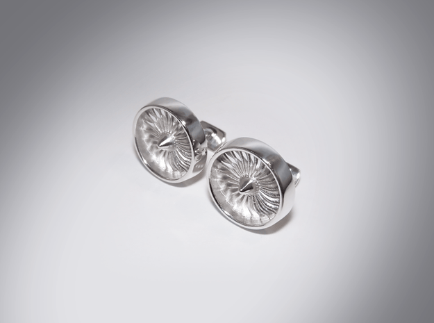 Turbine Cufflinks Mod 3 in Polished Silver