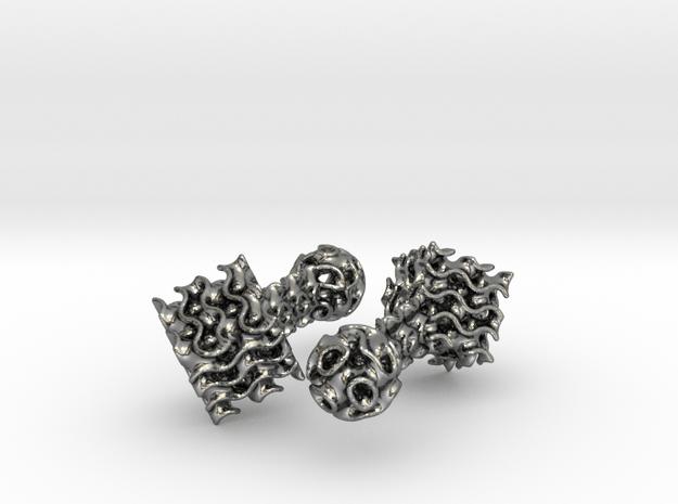 Gyroid Cufflinks in Polished Silver