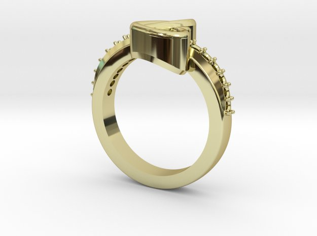 Heart Shape Ring in 18k Gold Plated Brass: 8 / 56.75