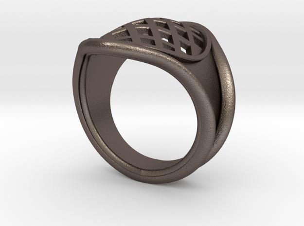 Men Steel Ring in Polished Bronzed-Silver Steel: 8 / 56.75